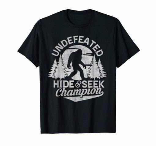 Bigfoot T-shirt Undefeated Hide & Seek Sasquatch Yeti Gift