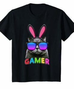 Easter Bunny Cat Gamer Shirt