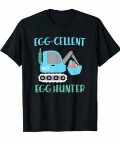 Easter shirt for Boys Egg-cellent Egg Hunter Bulldozer Shirt