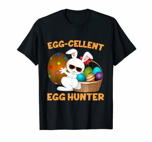Egg-cellent Egg Hunter Easter T-Shirt Boys Girls Bunny Gift
