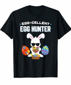 Egg-cellent Egg Hunter Easter T-Shirt Boys Girls Bunny Gift