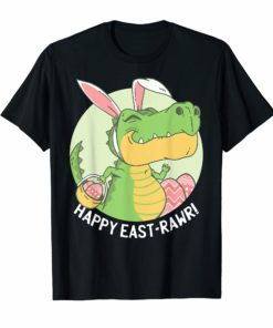 HAPPY EASTRAWR Shirt T Rex Dinosaur Easter Bunny Egg Kids