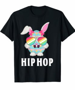 Hip Hop Bunny Flag Sunglasses Cute Easter T-Shirt Gift Kids