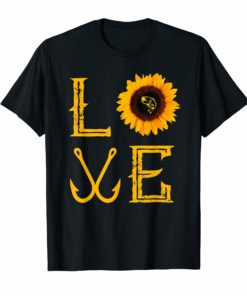 I love fishing and sunflower Shirt funny fisherman Gift