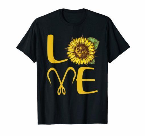 I love fishing and sunflower T-Shirt Gift