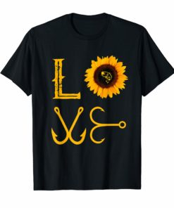 I love fishing and sunflower T-Shirt funny fisherman Gift