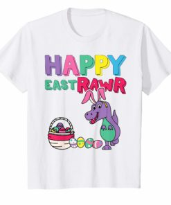 Kids Happy EastRAWR TShirt for kids Cute Dinosaur with Bunny Ears