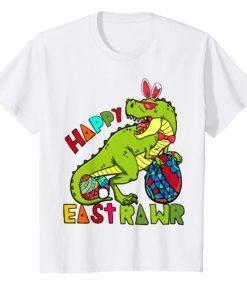 Kids Kids Happy Eastrawr T Rex Dinosaur Easter Bunny Egg T-Shirt