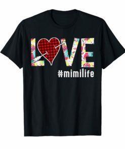 Love Mimi life #mimilife Buffalo Plaid Heart Floral T Shirt