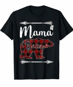 MAMA BEAR T Shirt Mother's Day Gifts Mom Mommy Buffalo Plaid