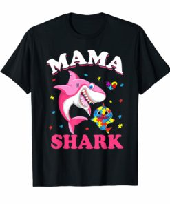 Mama Shark Autism Awareness T-Shirt For Men Women Kids