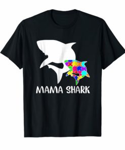 Mama Shark Autism Awareness T-shirt For Mom Mother