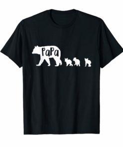 Papa Bear Shirt Dad Father With Three Cubs Tee