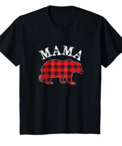 Red Plaid Mama Bear Matching Buffalo Family Pajama T-Shirt