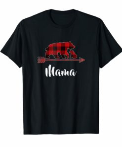 Red Plaid Mama Bear Matching Buffalo Pajama T-Shirt