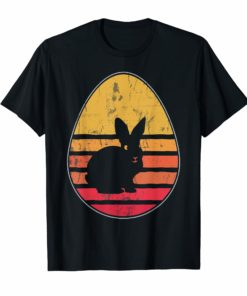 Retro Vintage Bunny Egg Happy Easter T-Shirt Gift Men Women