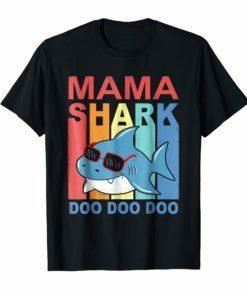 Retro Vintage Mama Shark TShirt Gift Mommy Grandma Mom