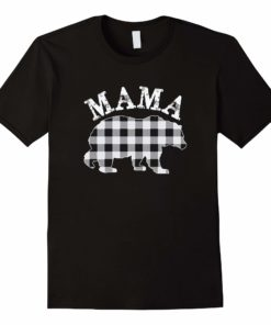 White Plaid Mama Bear Buffalo Matching Family Pajama T-Shirt