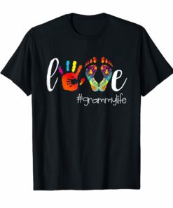 Womens Colorful Love Grammy Life Tshirt