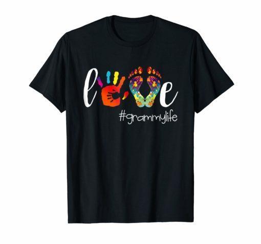 Womens Colorful Love Grammy Life Tshirt