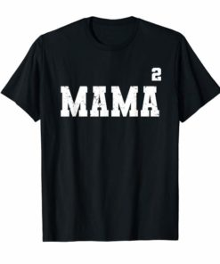 Womens Mama Squared - Two Kids Mom Distressed T-shirt