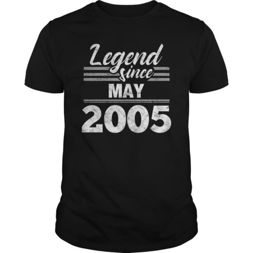 14th Birthday Gift Legend Since May 2005 T-Shirt