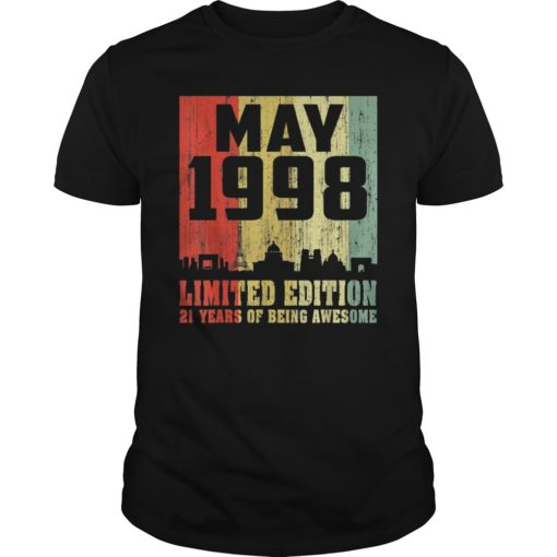 21st Gift Awesome May 1998 21 Years Old T-Shirt