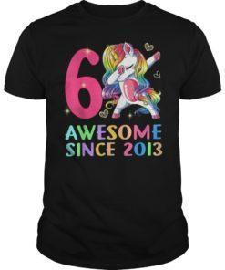 6 Years Old 6th Birthday Unicorn Dabbing Shirt