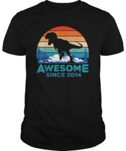 Awesome Since 2014 T-Shirt 5 Years Old Dinosaur Gift