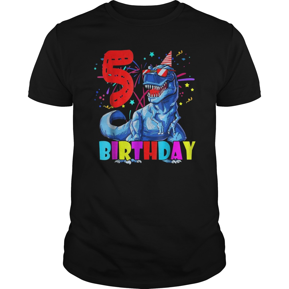 Kids 5th Birthday Dinosaur Shirt 5 Years Old Boy Girl