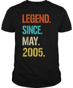 Legend Since May 2005 14th Birthday Gift 14 Years Old T-Shirt