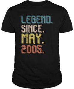 Retro Legend Since May 2005 T-Shirt 14th Birthday Gift Tee