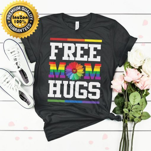 Free Mom Hugs Pride LGBT Tshirt Free Mom Hugs Pride Flag Shirt Rainbow Love Gift Support LGBT Pride Mom Mother's Day Gift shirt