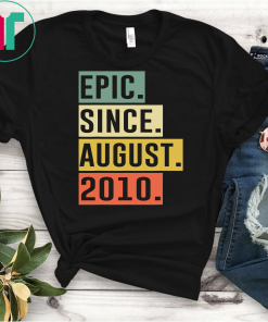 Retro Vintage 9th Birthday Epic Since August 2010 Gift T-Shirt