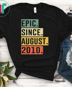 Retro Vintage 9th Birthday Epic Since August 2010 Shirts