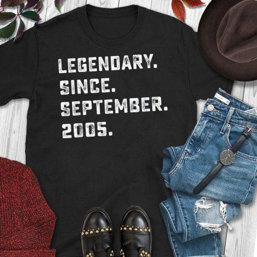 Legendary Since September 2005 Birthday Gift For 14 Yrs Old T-Shirt