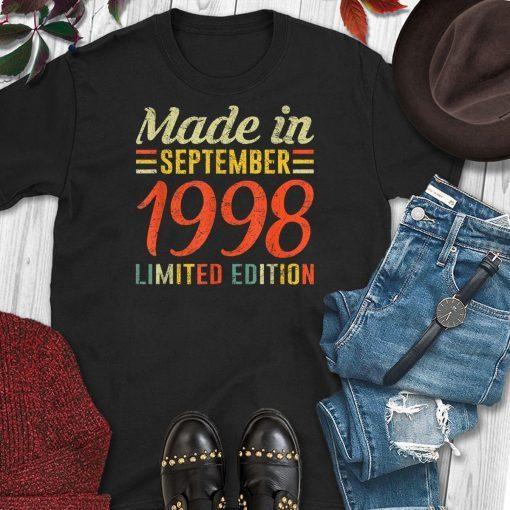 September 1998 Shirt 21st Birthday Decorations Born In 1998 T-Shirt