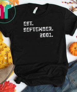 Vintage Est September 2001 Birthday Gift For 18 Yrs Old H1 T-Shirt