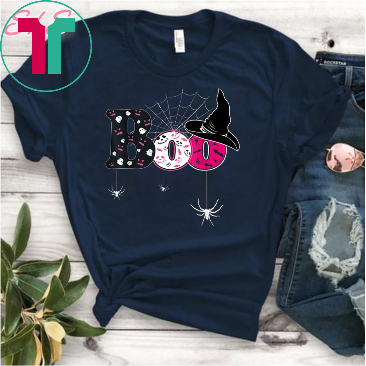new style b1865 d0042 Boo Halloween Costume Shirt Bat Ghost Pumkin Hat Spider Top T-Shirt -  Reviewshirts Office