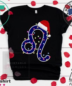 Nice Leo Zodiac Sign In Christmas Lights And Santa's Hat T-Shirt