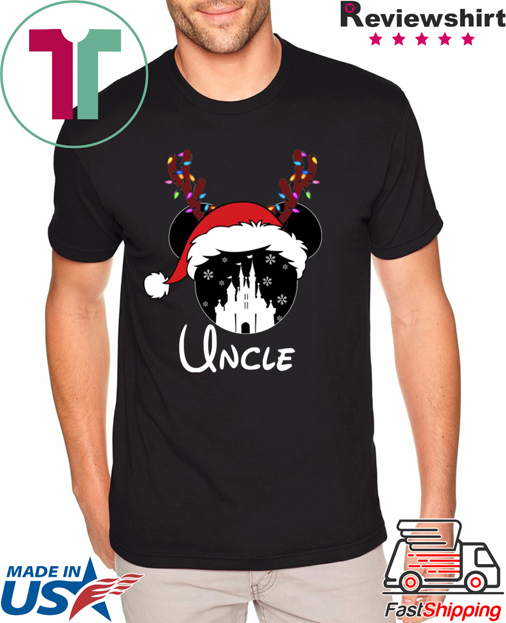 Disney Christmas Shirts.Reindeer Mickey Uncle Disney Castle Family Christmas Shirt Reviewshirts Office