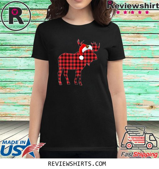 Matching Family Christmas Moose Plaid Pajama Shirt