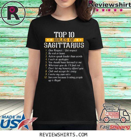 Top Ten Rules Of Sagittarius Birthday Shirt