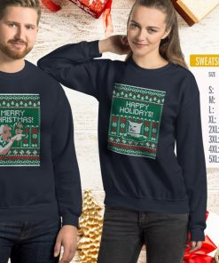 Woman Yelling at Cat Meme Ugly Christmas Sweater Faux Cross Stitch Duo Set in T-shirt