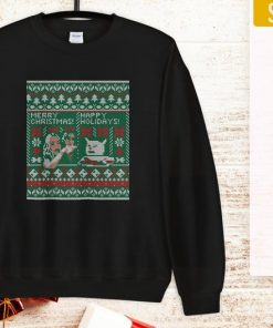 Woman Yelling at Cat Meme Ugly Christmas Sweater Faux Cross Stitch Shirt in T-Shirt