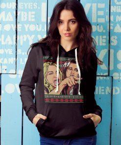 Woman Yelling at Cat Meme Ugly Christmas Sweater Faux Cross Stitch Unisex Shirt in T-Shirt Hoodie Sweatshirt